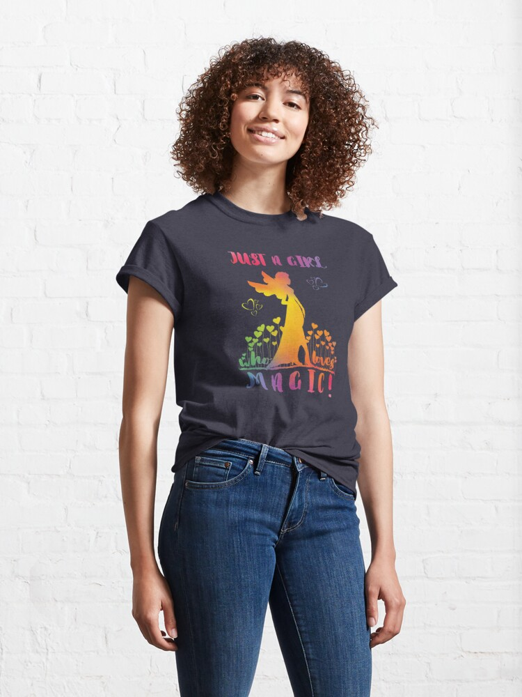 Alternate view of Just a Girl who loves Magic - Rainbow Fairy Hearts Classic T-Shirt