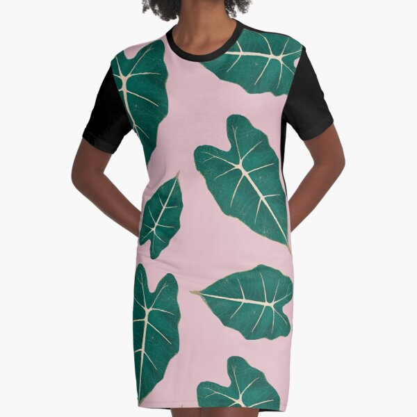 Monstera Leaf Alocasia Illustration Graphic T-Shirt Dress