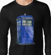 The TARDIS - Doctor Who Inspired Watercolour Long Sleeve T-Shirt