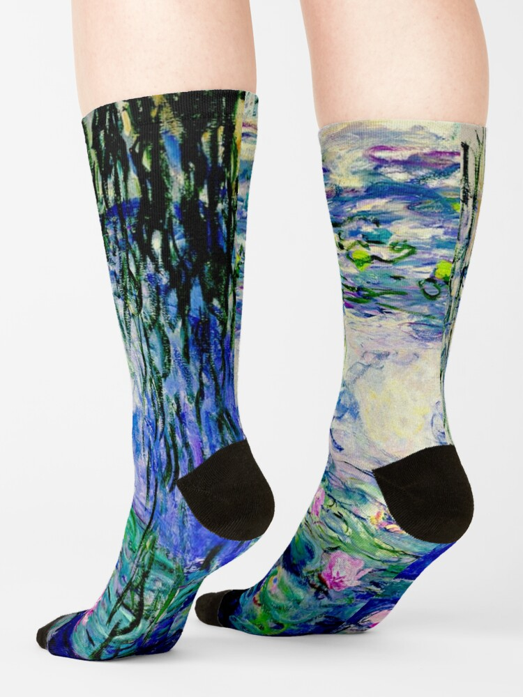 Alternate view of Claude Monet Water Lilies   Landscapes of Water and Reflection Socks