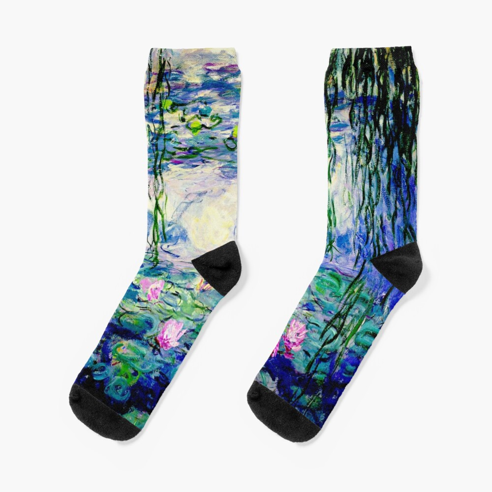 Claude Monet Water Lilies   Landscapes of Water and Reflection Socks