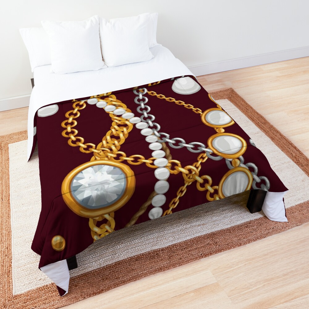 Jewelry on chocolate brown color Comforter