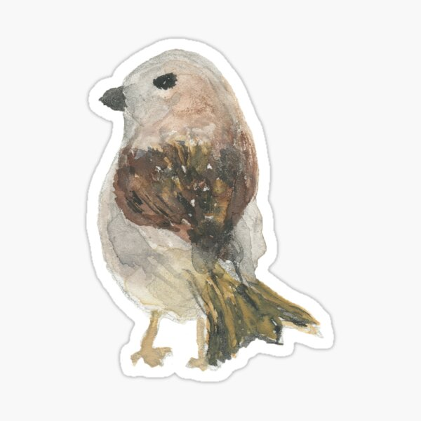 """Watercolor Bird: """"I'm looking for a lost sentence or song or word or thought"""" Sticker"""
