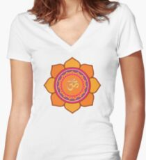 Lotus Om Symbol Women's Fitted V-Neck T-Shirt