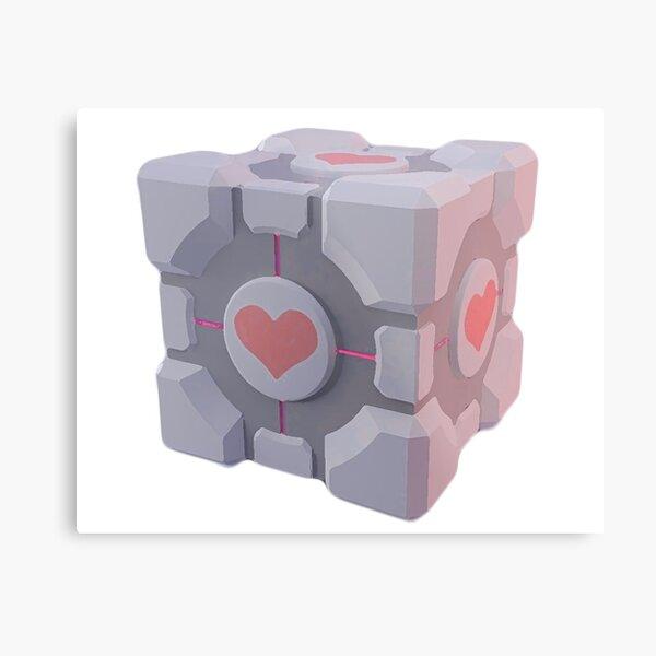 Portal Companion Cube Metal Print