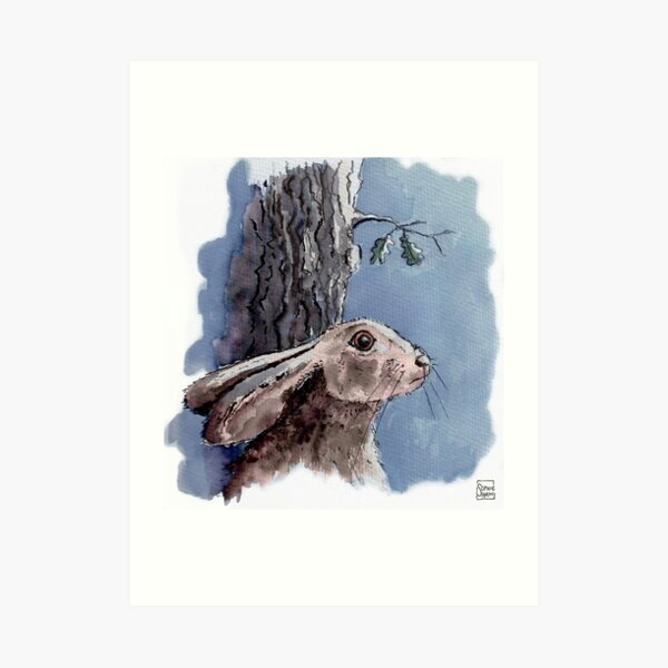 Hare stared out into the darkness Art Print