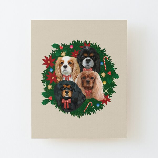 Cavalier King Charles Spaniel Christmas and Holiday Gifts Wood Mounted Print