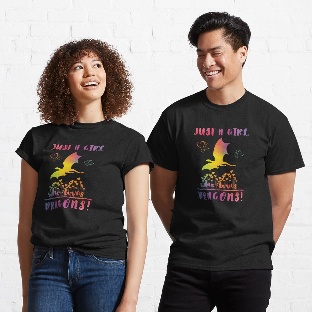 Just a Girl who loves Dragons - Rainbow Hearts Classic T-Shirt