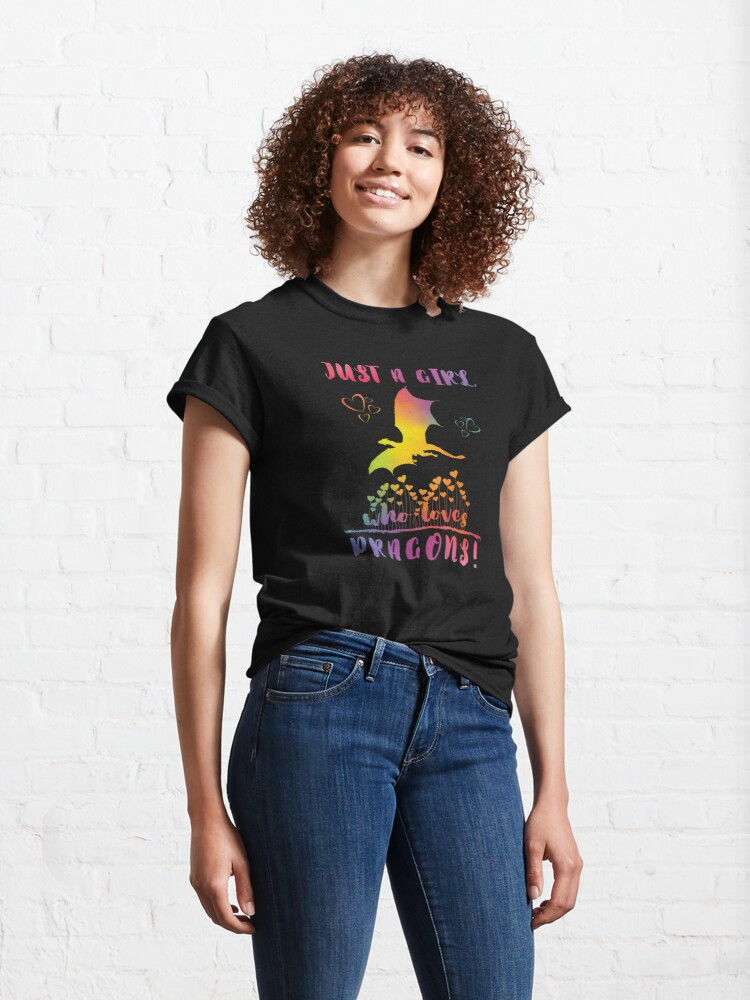 Alternate view of Just a Girl who loves Dragons - Rainbow Hearts Classic T-Shirt