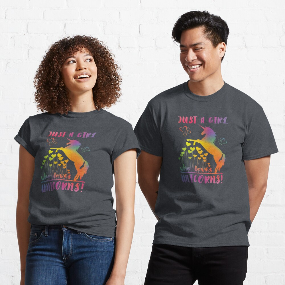 Just a Girl who loves Unicorns! - Rainbow Hearts Classic T-Shirt