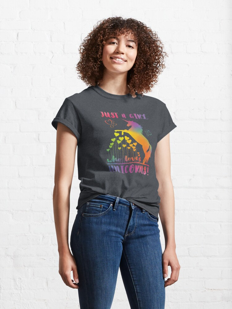 Alternate view of Just a Girl who loves Unicorns! - Rainbow Hearts Classic T-Shirt