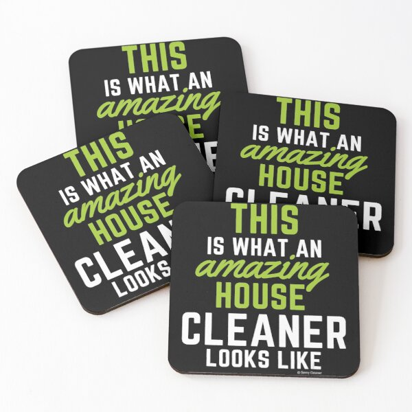 This Amazing House, Funny Cleaning Maid, Clean House Humor Coasters (Set of 4)