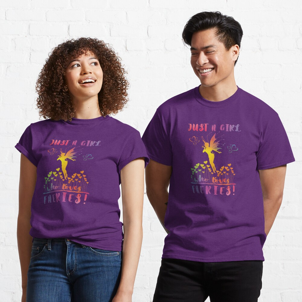 Just a Girl who loves Faeries! - Rainbow Hearts Classic T-Shirt