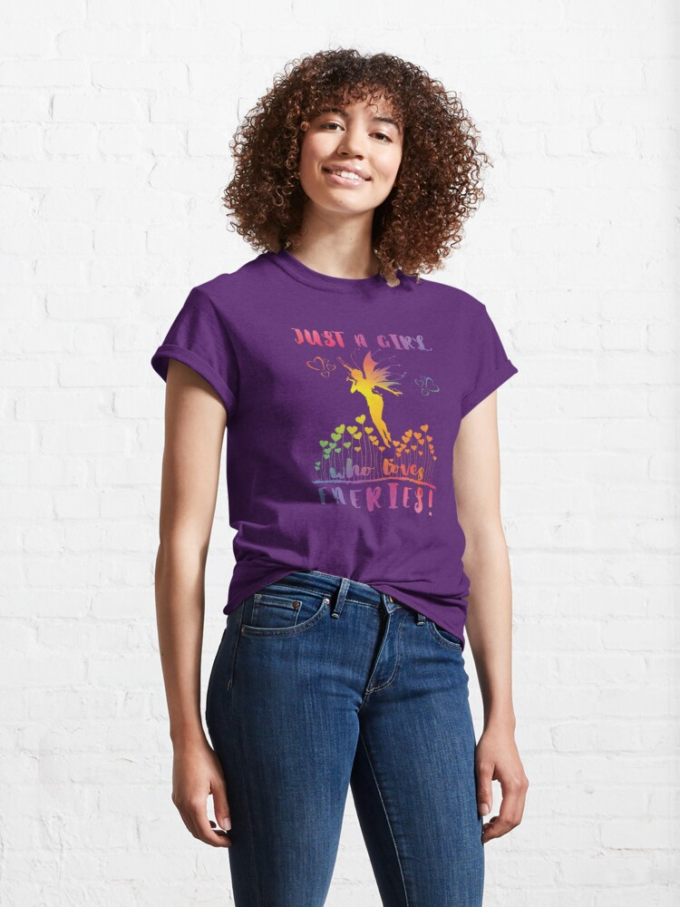 Alternate view of Just a Girl who loves Faeries! - Rainbow Hearts Classic T-Shirt