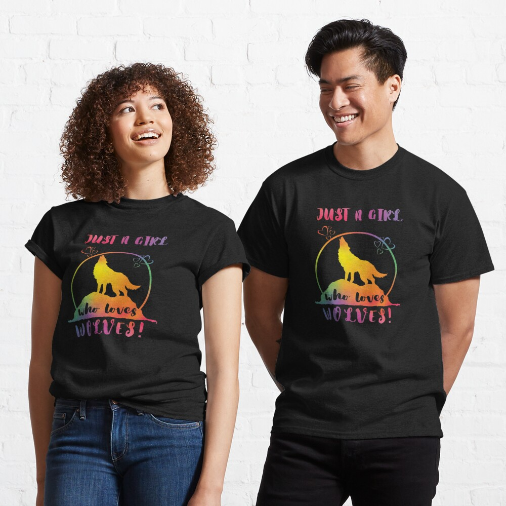 Just a Girl who loves Wolves! - Rainbow Heart Moon Classic T-Shirt