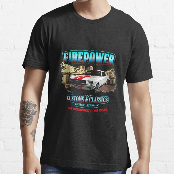 FIREPOWER CUSTOMS AND CLASSICS MUSTANG BRISBANE SOUVENIR Essential T-Shirt
