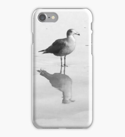 Gull and Reflections in Black and White iPhone Case/Skin