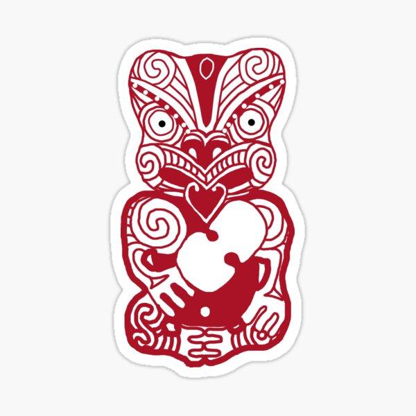 Maori Tiki, rouge sur rouge Sticker