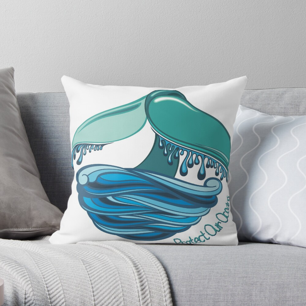 Protect Our Oceans Whale Tail Throw Pillow