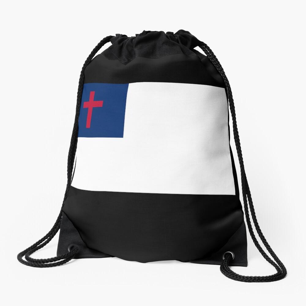 Christian Cross Flag Black Background Drawstring Bag