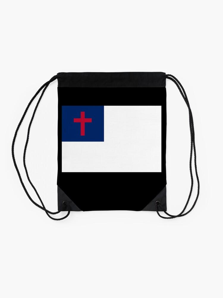 Alternate view of Christian Cross Flag Black Background Drawstring Bag