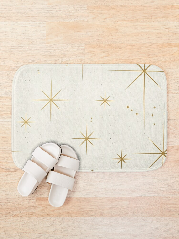 Alternate view of Gold Art Deco Stars Sparkle Pattern Astrology Astronomical Vintage Style White Background Bath Mat