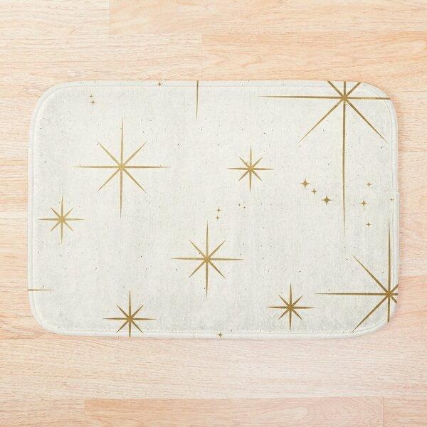 Gold Art Deco Stars Sparkle Pattern Astrology Astronomical Vintage Style White Background Bath Mat