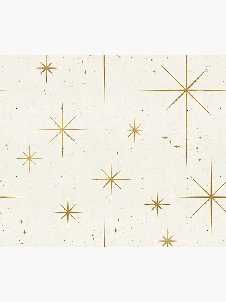 Gold Art Deco Stars Sparkle Pattern Astrology Astronomical Vintage Style White Background by Ejaaz