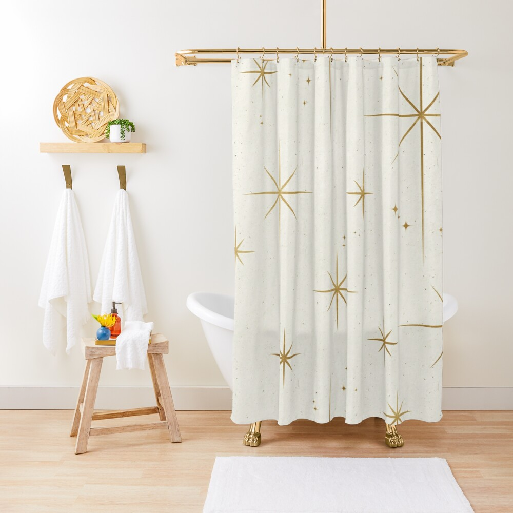 Gold Art Deco Stars Sparkle Pattern Astrology Astronomical Vintage Style White Background Shower Curtain