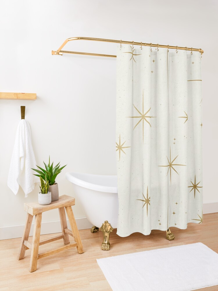 Alternate view of Gold Art Deco Stars Sparkle Pattern Astrology Astronomical Vintage Style White Background Shower Curtain
