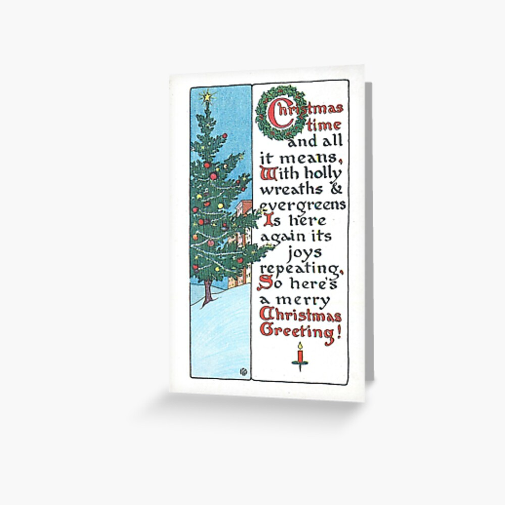 """""""Christmas Time and All It Means"""" Vintage Christmas Postcard  (1916) Greeting Card"""