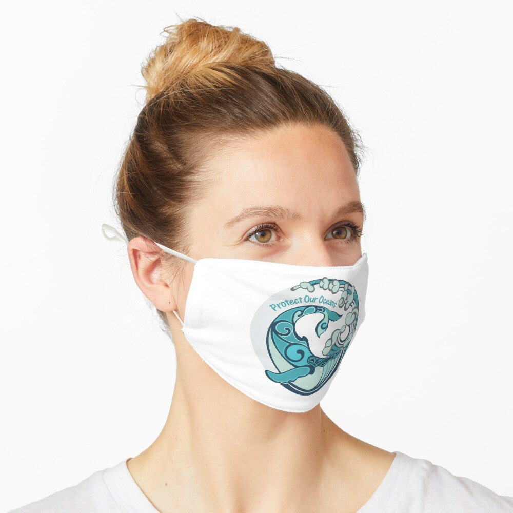 Protect Our Oceans Whale Tail Ocean Wave Mask