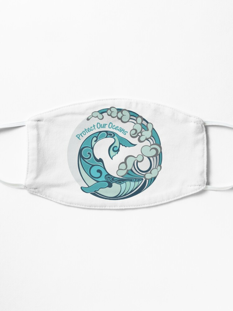 Alternate view of Protect Our Oceans Whale Tail Ocean Wave Mask