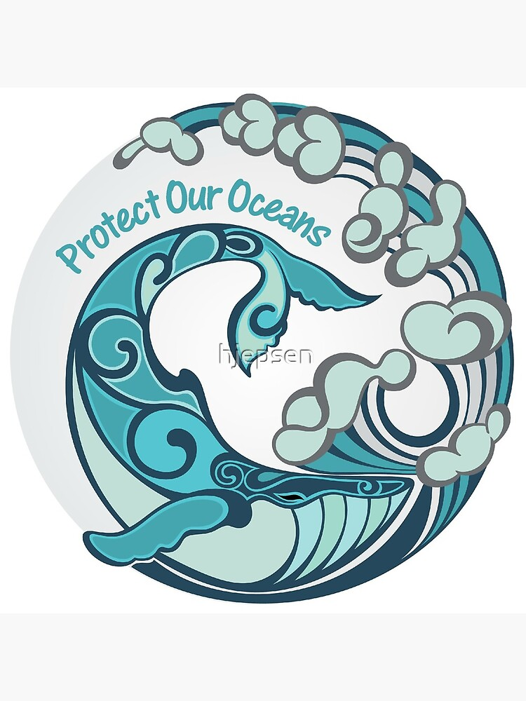 Protect Our Oceans Whale Tail Ocean Wave by hjepsen