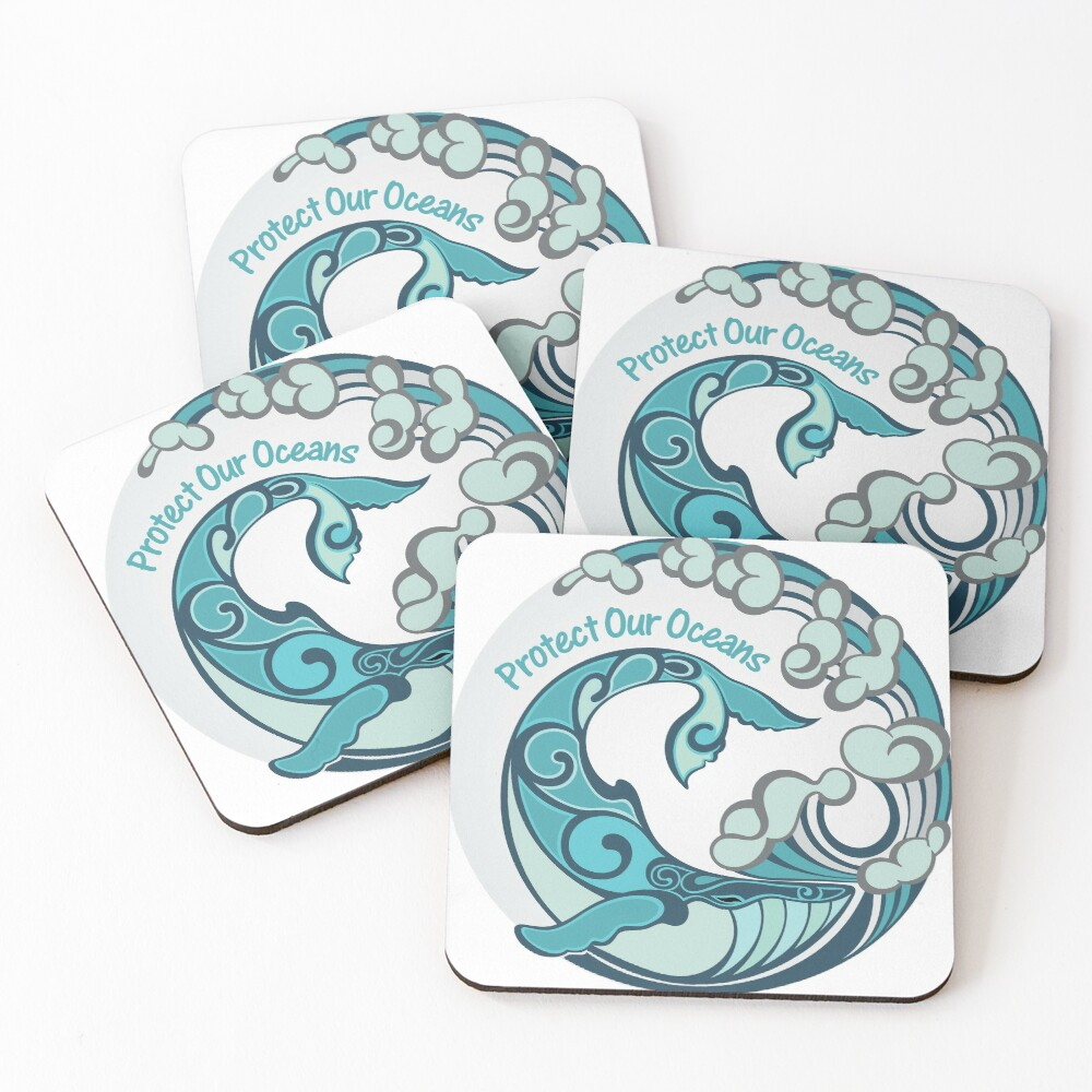 Protect Our Oceans Whale Tail Ocean Wave Coasters (Set of 4)