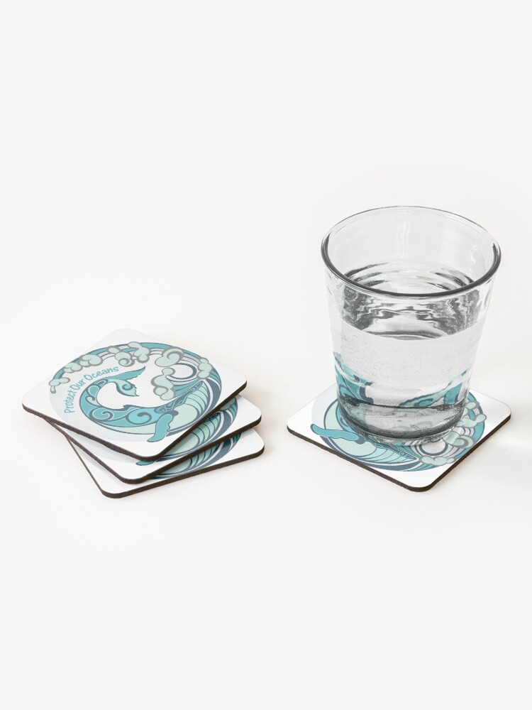 Alternate view of Protect Our Oceans Whale Tail Ocean Wave Coasters (Set of 4)