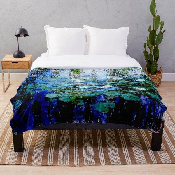 """Nymphéas Bleus"" by Claude Monet - 'Blue Water Lilies'  Throw Blanket"