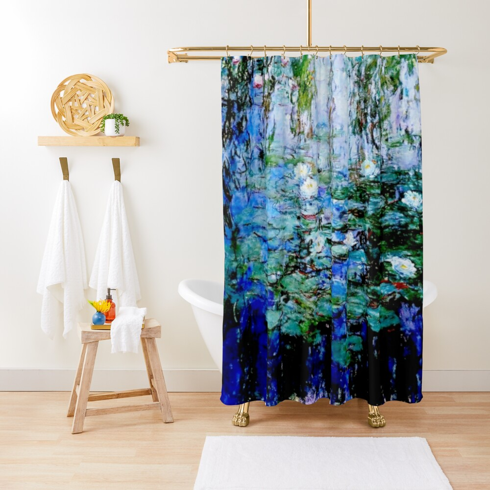 """Nymphéas Bleus"" by Claude Monet - 'Blue Water Lilies'  Shower Curtain"