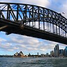 Sydney Harbour Bridge and the Opera House by looneyatoms
