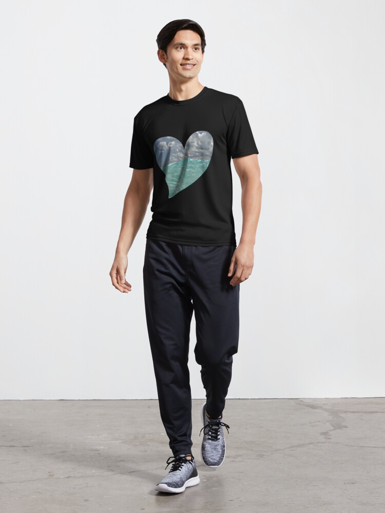 Alternate view of Ocean Waves on a Heart Active T-Shirt