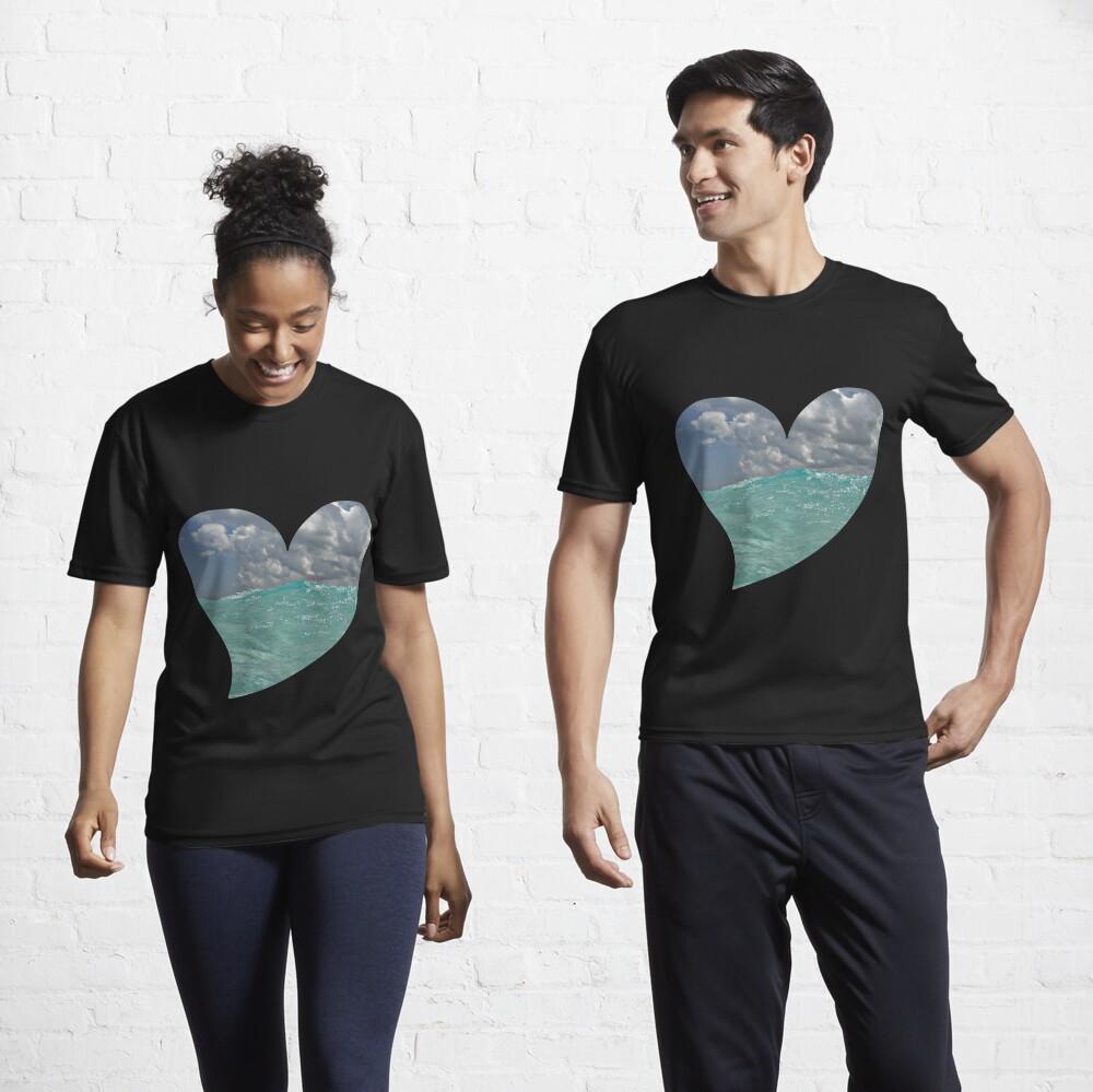 Ocean Waves on a Heart Active T-Shirt