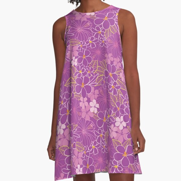 Vector purple tropical flowers seamless pattern A-Line Dress