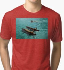Giant Pigs Swimming In The Azure Waters Of The Exumas, Bahamas, Caribbean Tri-blend T-Shirt