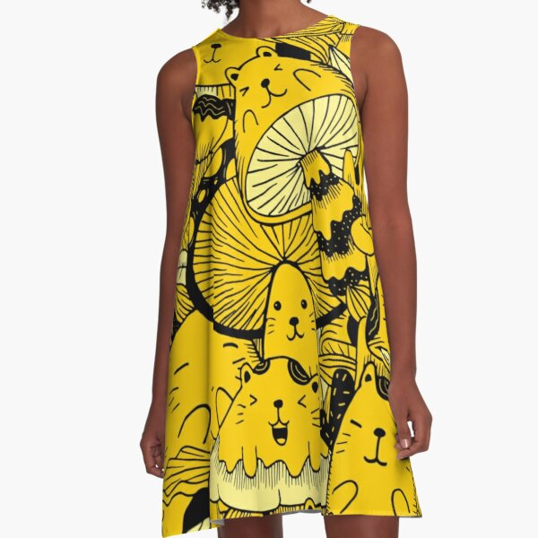 Cat And A Mushroom = MushCat A-Line Dress