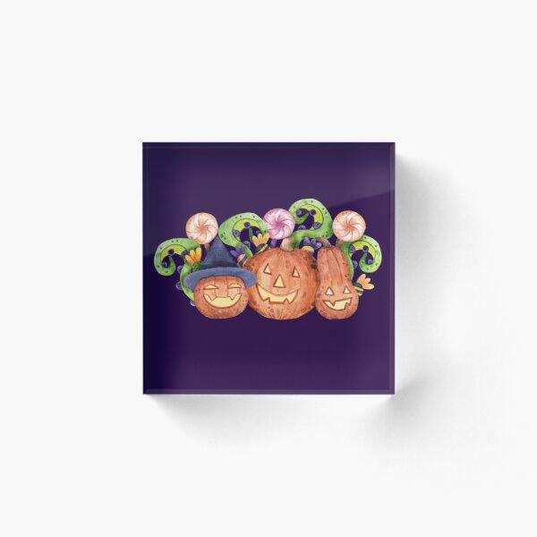 Cheerful, Spooky and Funny Pumpkin for Halloween. Acrylic Block