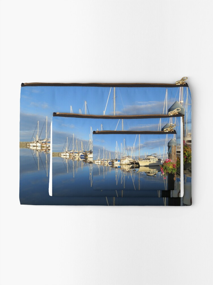 Alternate view of Beautiful and Colorful Yachts and Sailboats in a Marina Zipper Pouch