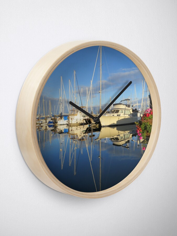 Alternate view of Beautiful and Colorful Yachts and Sailboats in a Marina Clock