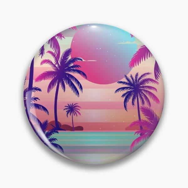 Sunset Palm Trees Vaporwave Aesthetic Pin
