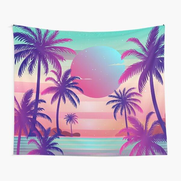 Sunset Palm Trees Vaporwave Aesthetic Tapestry