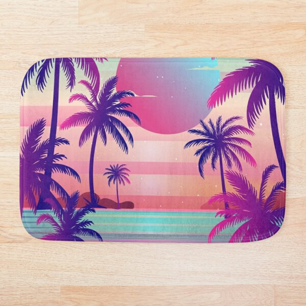Sunset Palm Trees Vaporwave Aesthetic Bath Mat